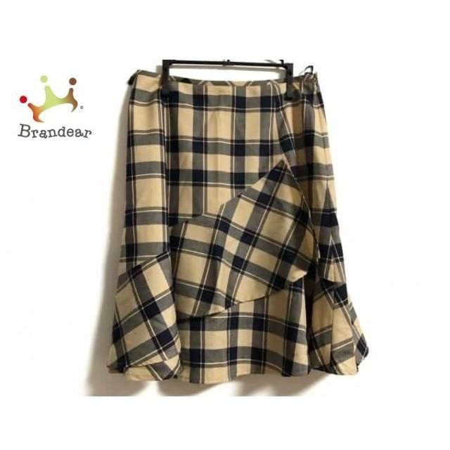 ヨークランド YORKLAND スカート サイズ11 M レディース ベージュ×黒×アイボリー チェック柄            値下げ 20191013