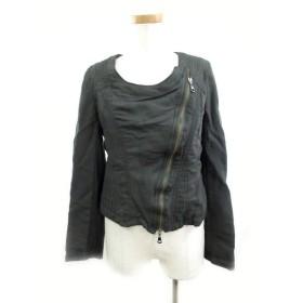 プライドインターナショナルデザイン PRIDE ノーカラー ジャケット ライダース ジップアップ フェイクレザー 36 カーキ 黒 ブラック アウター 上着 美品