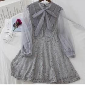 ふんわりフリルシースルーの透け感で大人フェミニン♡ レース リボン ワンピースドレス Aライン お呼ばれコーデ