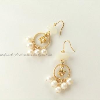 SALE 金具変更OK Pierces or Earrings マカバ ラインストーン(P0783)