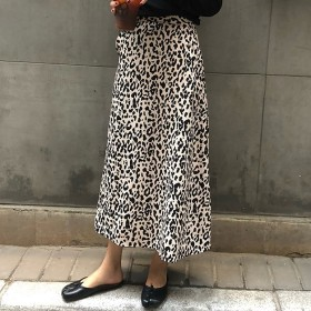 レオパード Aラインスカート フレア ハイウエスト ミモレ丈 レディース スカート 大人かわいい フェミニン エレガント シック C0141