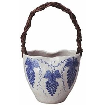 ぶどう絵変形つる付花入 (信楽焼・花瓶・花入れ・花器・壺・壷・一輪挿し・フラワーベース)