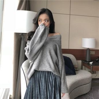 送料無料 2018 Vネック ゆったり 長袖 ニット セーター 大人気 全3色 秋冬 新作