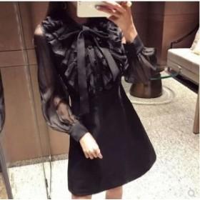 フリル×リボンで女性らしさ満点♡ シースルー ワンピースドレス 長袖 ボリューム袖 エレガント フェミニン ブラック