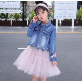 子供服 2点セット 長袖 カウボーイコート + ノースリーブメッシュドレス 個性 レジャー カウボーイショートセクション
