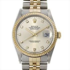 最大5万円オフクーポン配布 ロレックス デイトジャスト 10Pダイヤ 16013G シルバー 91番 中古 メンズ 腕時計 48回払いまで無金利