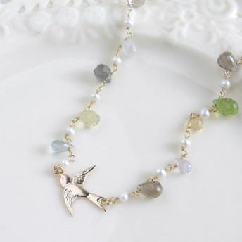 春の花色の天然石とスワローのネックレス ~ 14GF 幸運のツバメ ~ Lucky Swallow
