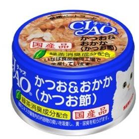 CIAO ホワイティ かつお&おかか (かつお節) 85g  猫 フード キャットフード ウェット wet 猫缶 ね