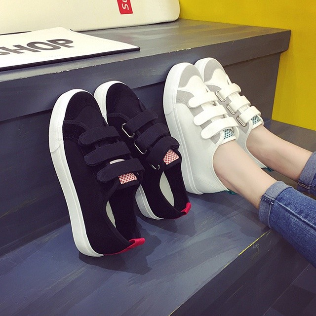 スニーカー レディース 厚底 キャンパス 靴 スニーカー 白 マジックテープ 歩きやすい 疲れにくい 滑り止め カジュアル ローカット シューズ