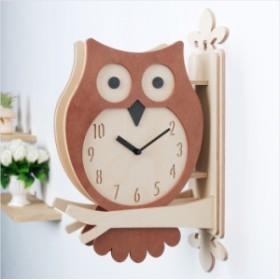 両面電波掛け時計フクロウ ハンドメード 木製両面壁掛け時計 おしゃれ 掛時計 北欧 時計 インテリア 電波両面掛け時計