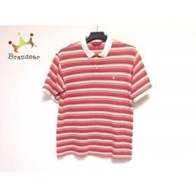 マンシングウェア 半袖ポロシャツ サイズ2 M メンズ レッド×ダークネイビー×アイボリー   スペシャル特価 20190710