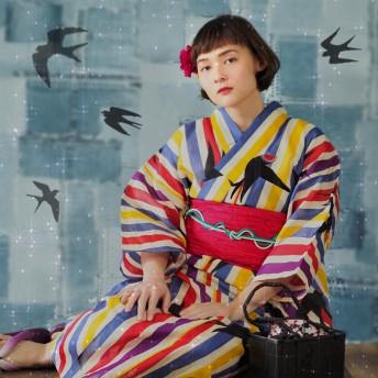 浴衣 - Ainokajitsu 女性浴衣 レディース浴衣 浴衣 単品 浴衣単品 仕立て上がり 綿麻 レディース 女性用 ツバメ 黄色 赤 青 紫 燕 イエロー 個性派 変わり織 お洒