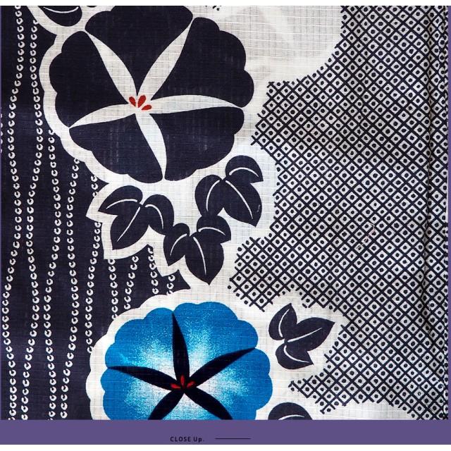 浴衣 - Ainokajitsu 女性浴衣 レディース浴衣 浴衣 単品 浴衣単品 仕立て上がり レディース 女性用 フリー 朝顔 青 ブルー 紺 縞 変わり織 お洒落