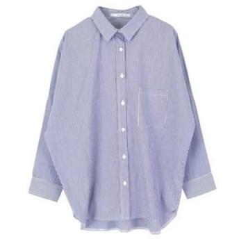 ティティベイト titivate ドロップショルダービックシャツ (ストライプネイビー)