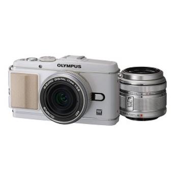 【中古 保証付 送料無料】OLYMPUS PEN E-P3 ツインレンズキット ホワイト/ デジタルカメラ / ミラーレス/一眼レフカメラ/初心者