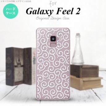 Galaxy Feel 2 ギャラクシー フィール 2 SC-02L スマホケース ハードケース 唐草 クリア×白 nk-sc02l-1128