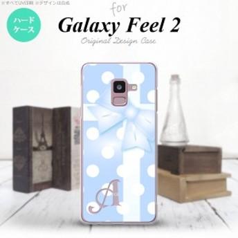 Galaxy Feel 2 ギャラクシー フィール 2 SC-02L スマホケース ハードケース ドット・リボン 青 イニシャル nk-sc02l-302i
