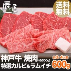神戸牛 焼肉 セット 特選 カルビ & ラムイチ 600g(約3-4人前) 送料無料  冷蔵