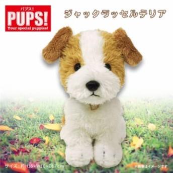 ぬいぐるみ 犬 ジャックラッセルテリア 【P-5052】PUPS! Sサイズ お座り ねそべり 首輪付き サンレモン