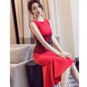 ドレス ウエストレース リボン マーメイド 膝下 二次会ドレス パーティドレス 赤 黒 結婚式 お呼ばれドレス スリムワンピース S-XL
