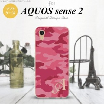AQUOS sense2 アクオス センス 2 SH-01L SHV43 スマホケース ソフトケース 迷彩A ピンクA イニシャル nk-sens2-tp1147i