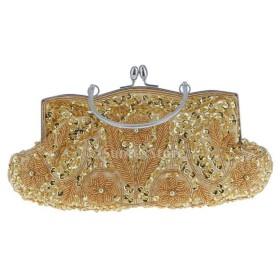 ノーブランド品 9種選択可 女性 結婚式 財布/イブニングバッグ/ブライダル ビーズのクラッチバッグ  - ゴールド