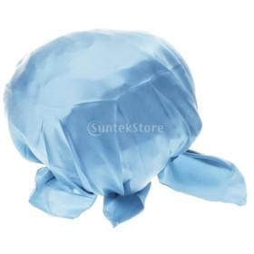 シルク ナイトキャップ お休みキャップ 睡眠 室内用 就寝用帽子 美髪 通気性 軽量 全5色 - 青