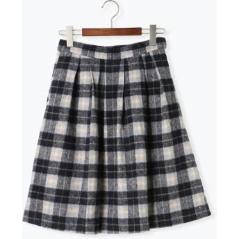 ひざ丈スカート - Te chichi シャギーチェックタックフレアスカート