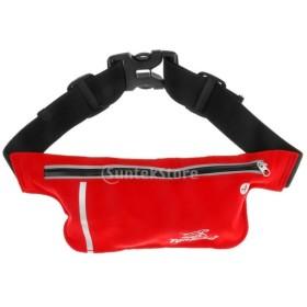 全6色 通気性 アウトドア ランニング ウエストバッグ スポーツ ポケット バッグ  - レッド