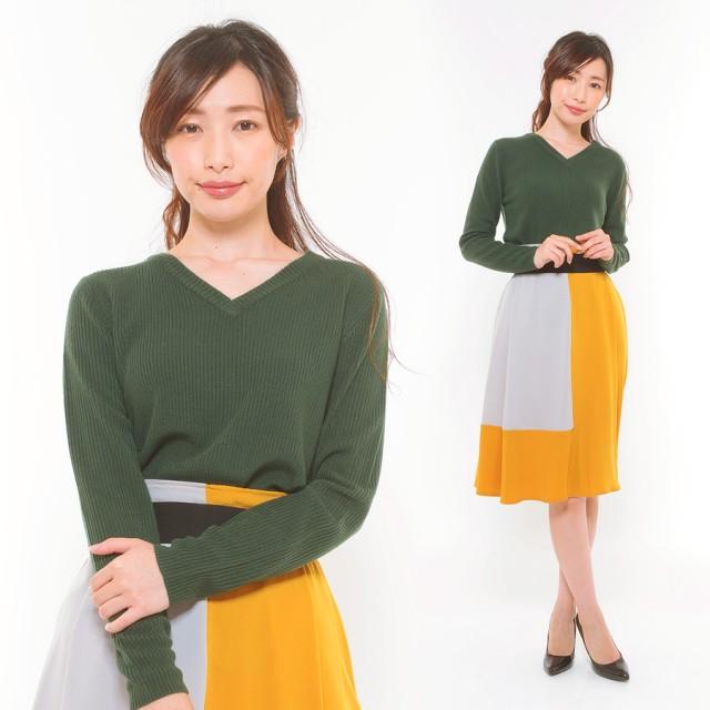 ニット・セーター - CLOTHY ■カシミヤタッチ■リブ 無地 Vネック 長袖 ニット (M/L)