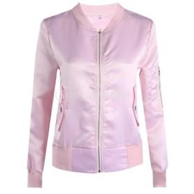 レディーズ 長袖 ボンバー コート ジャケット スタンドカラー 立ち襟 野球服 全3色4サイズ - ピンク, L