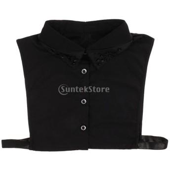 レディース 偽襟 取り外し可能 付け襟 ブラウス 刺繍 シフォン 人工パール 全2色 - ブラック