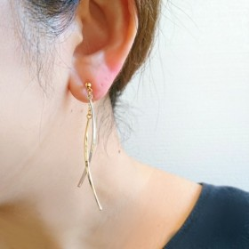 gold & silver stick ノンホールピアス/ピアス