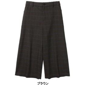 パンツ レディース クロップドパンツ チェックガウチョパンツ LL〜5L  「ブラウン」,179) %>