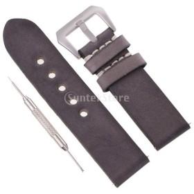 人工レザー 時計バンド 腕時計ストラップ 交換ベルト 全4サイズ - 24mm
