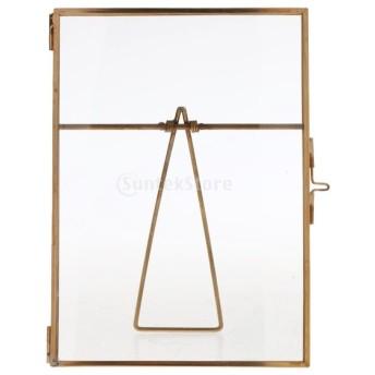 写真入れ 写真ホルダー 写真立て フォトフレーム ガラス 超透明 ゴールド 装飾 工芸品 卓上置物 贈り物 - 10x15cm