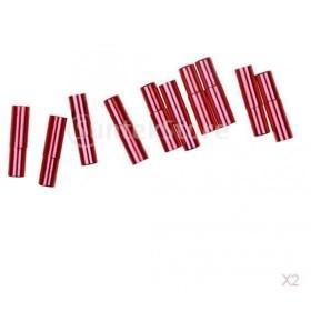 ノーブランド品 約20個入り お買い得 アルミ合金  バイク  自転車  ブレーキ ギア フェルール キャップ  全4色  - 赤色