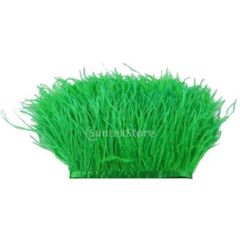ダチョウの羽 フリンジ トリム 染め 1ヤード 飾り物 軽量 全31色 - 草の緑