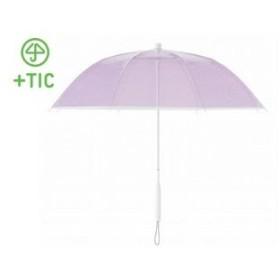 +TIC/プラスチック  PT701 長傘 手開き カラー ライン 全5色 オールプラスチック製 張り替え可能 8本骨 60cm (パープル)