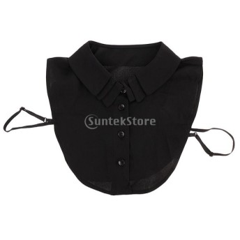 取り外し可能 女性 偽の襟 人工襟 ブラウス 刺繍 シフォン 全2色 - ブラック