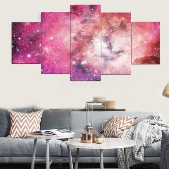 油絵 絵画 PVC ポスター 宇宙テーマ 芸術 抽象的 贈り物 装飾品 5枚組み 全10種類 - 色星空
