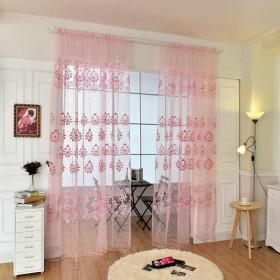 ノーブランド品ホーム リビング 窓 寝室用 薄手 カーテン  パネル シアー ドレープ 全6色選べる - ピンク