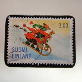 フィンランド クリスマス切手ブローチ 4277