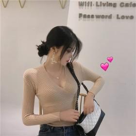 [55555SHOP] 限定発売 高品質で 韓国ファッション/Vネック/ニット/タイト/スリム/ボトミングシャツ/トップ