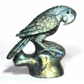 ☆置物一点物☆【天然石 彫刻置物】オウム ラブラドライト No.02