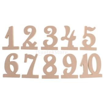 飾りセット テーブル番号 フリースタンド ウッドMDF ウェディング ベビーシャワー パーティー 1-10数字