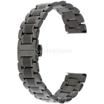 全5サイズ ステンレス 腕時計バンド リストバンド ブラック 調節可能 交換ストラップ 快適 時計部品 留め金 - 19mm