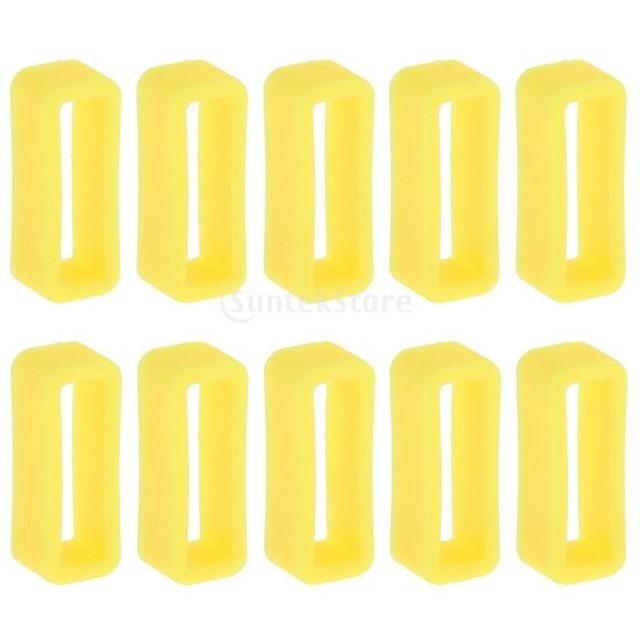 20mm 10個入り ラバー 時計ストラップ バンドループ  固定ループ バンドキーパー 全6色 - 黄, 20mm