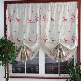Lovoski クリスマスプルアップシェード バルーンウィンドウカーテン エルクタイアップカーテン 全2色2サイズ - レッド, 83x175cm