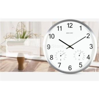 簡潔 スタイル 現代的 壁時計 ノンティッキング クォーツ 多機能 ウォールクロック 温度計 湿度計 全4色 - 銀